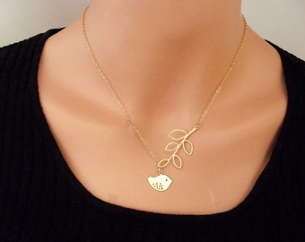 Gold plated Bird and Branch Necklace, Gold Sparrow Necklace, Gold plated  Mod Bird Necklace -  Cute, Dainty, mother, mom, teen