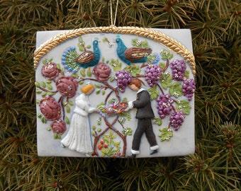 Bride and Groom Springerle Wedding Ornament