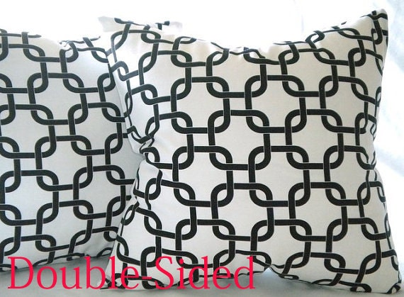 Decorative pillow cover - Gotcha Twill - white -black - 20x20 -throw pillow cover Double Sided