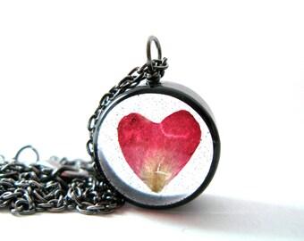 Heart Rose Petal Necklace - Real Rose petal encased in resin - Rose Petal Pendant - Pressed Flower Jewelry - Rose Necklace - Heart Necklace