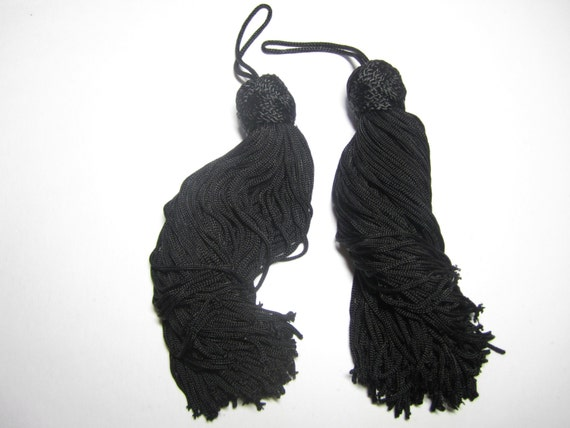 Chinese knot tassels - BLACK - one pair elegant black tassels, large black tassels for pillows, cushions, home decor, accessories, shoes