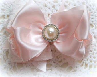 Pink Satin Hair Bow....Satin and Lace Hair Bow....Girls Hair Bow....Toddler Hair Bow...Infant Hair Bow...Newborn Photo Prop with headband