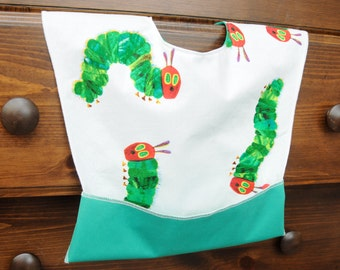 Pocket Bib - Waterproof Toddler Bib - Baby Feeding Bib - Snap Neck - Washable - Baby Shower Gift - One Size - Very Hungry Caterpillar