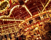 Midnight Carousel, carnival ride photograph, whimsical, fantasy, home decor, 8x10 fine art photo print
