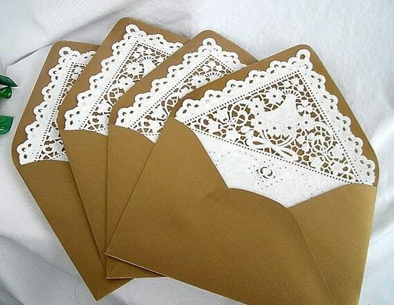 items similar to kraft doily lace lined envelopes  vintage