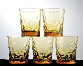 Libbey Aztec Gold Old Fashioned Glasses Set of 5 Vintage 1960s
