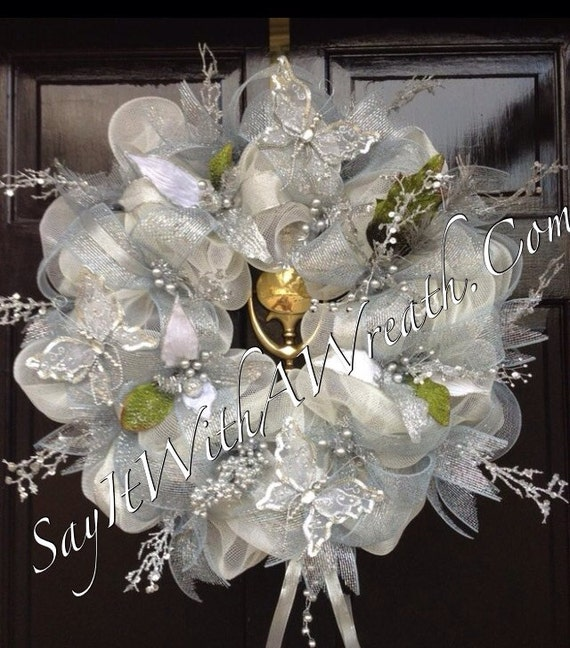 Wedding Arch Decorated With Mesh: Items Similar To SILVER CREAM Deco Mesh WEDDING Wreath On Etsy