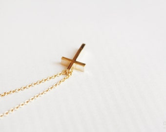 dainty gold cross necklace - minimalist jewelry - christmas gift for her under 20