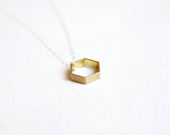 tiny hexagon necklace - geometric, mixed metals jewelry / gift for her