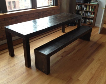 Modern style reclaimed wood dining table set (1 bench)
