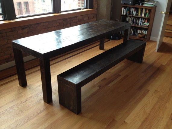 Modern Style Reclaimed Wood Dining Table Set 1 Bench