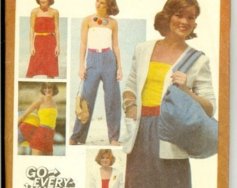 Dress Skirt Pants Shorts Jacket Simplicity 9538  Size 12 Sewing Pattern for Knits 1980s Uncut