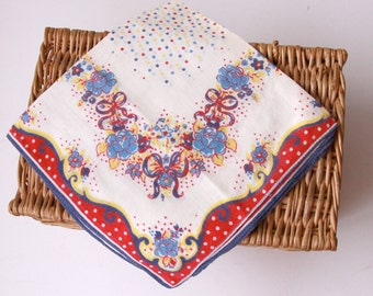Flower Handkerchief Printed - Beige with Red Blue Yellow Cotton - Vintage