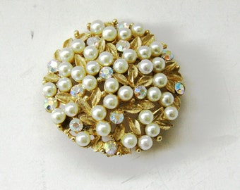 Charel Pearl Brooch Pin - Pearls and Rhinestones - Signed Charel - Vintage Jewelry Designer - Gold Tone