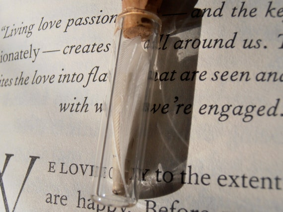 Keepsake from the Heart - Tiny quill feather and scroll in a clear bottle for teachers, writers , students, book lovers