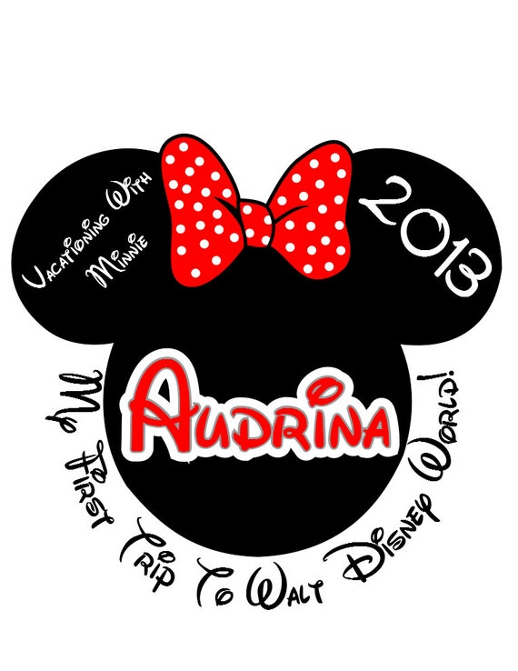 Disney Tshirt Iron on Custom Personalized 1st Trip Minnie Transfer Decal(iron on transfer, not digital download)