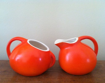 Vintage Bright Orange Pottery Creamer & Sugar Set