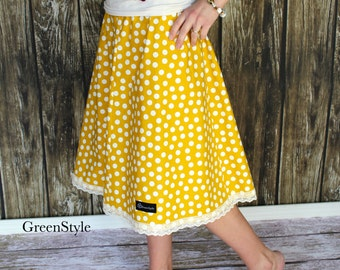Mustard Yellow and Off White Polka Dot  Aline Skirt for Women from GreenStyle