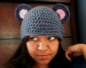 Super Cute Geeky Crochet Gray Mouse Beanie