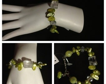 Green C.Freshwater Pearl, Crystal, & Lemon Jade Bracelet