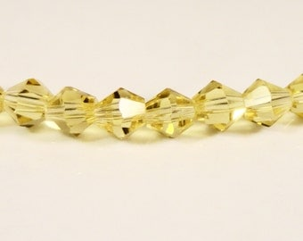 Yellow Crystal Bicone Beads 4mm Faceted Chinese Crystal Glass Beads for Jewelry Making 100 Loose Beads per Pack