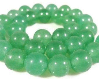 Green Aventurine Beads 6mm Round Green Aventurine Gemstone Beads Dyed Green Stone Beads for Jewelry on a 7 1/2 Inch Strand with 31 Beads