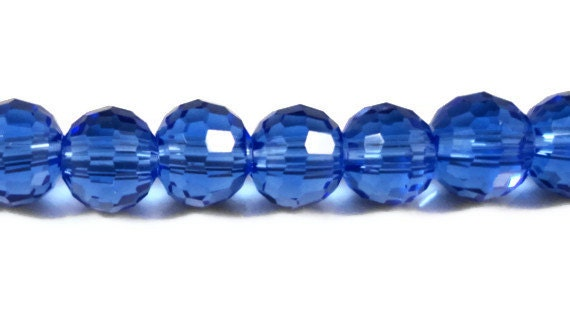 Blue Crystal Beads 6mm Faceted Round Cobalt Blue Disco Ball Style Micro Faceted Chinese Crystal Glass Beads on a 7 Inch Strand with 33 Beads