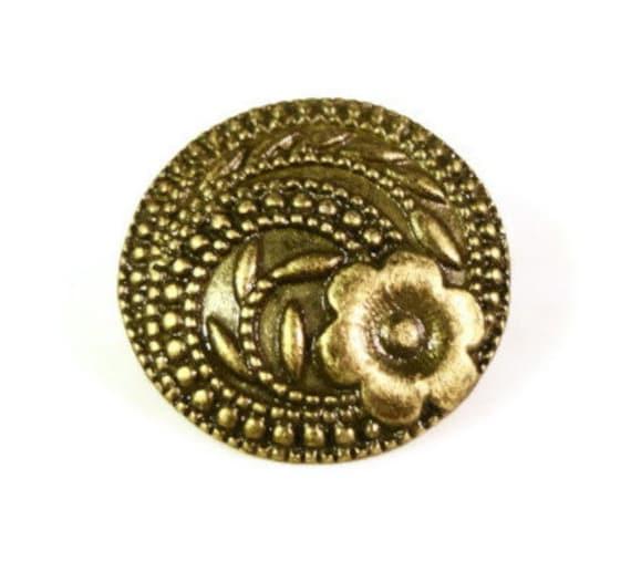 Flower Shank Buttons 16x6mm Antique Brass Tone Metal (Bronze) Shank Buttons, Wrap Bracelet Buttons, Fancy Buttons, Sewing Supplies, 5pcs