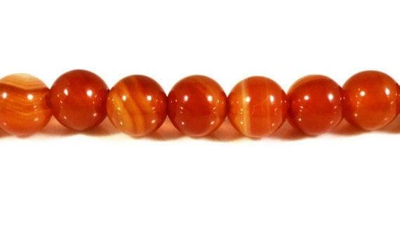 Carnelian Agate Gemstone Beads 6mm Round Striped Orange Stone Beads, Cornelian Agate Beads on a 7 1/2 Inch Strand with 31 Beads