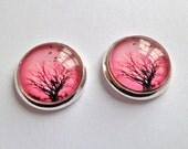 pink earrings silver stud glass dome photo jewelry tree birds