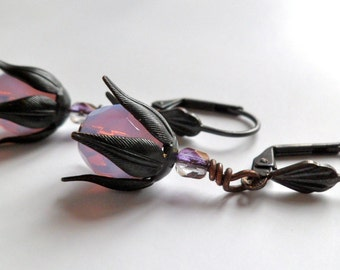 lilac earrings vintage style flower petal everyday