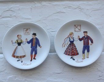 Beautiful 2 Collectible National Costumes series wall plates by Arabia Finland