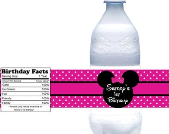 Minnie Mouse Head  - Personalized water bottle labels - Set of 5  Waterproof labels