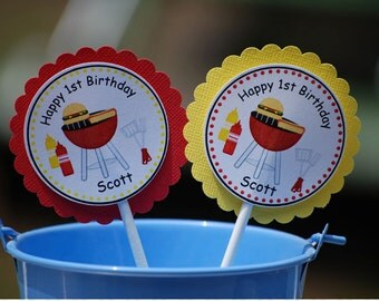 Back Yard Picnic Cupcake Toppers - Set of 12 Personalized Birthday Party Decorations