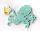 Octopus, beer, wall art, wood sign, gift for him, beach decor, ocean, bar, dining, seafood restaurant, shabby chic, cottage, man cave