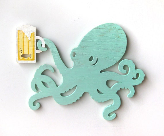 Wooden Octopus Wall Decor : Octopus beer wall art wood sign gift for him beach decor