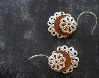 Southwestern Copper Coin and Silver Chantilly Lace Earrings