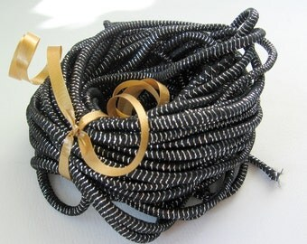 Black and Silver Metallic Elastic Cord 3mm 4 yards