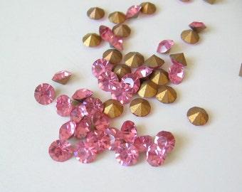 Rose pink Swarovski crystals SS18, 4.2-4.4mm 18 pcs