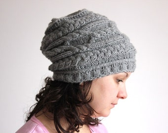 Cable Aran Hat - Hand Knit in Soft Wool Mix Yarn