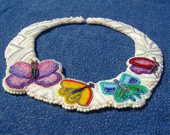 Beadwork Necklace, Butterfly Collar , White & Silver