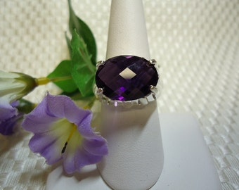 Large Oval Checkerboard Cut Amethyst Ring in Sterling Silver   #689