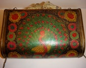 Vintage Brass Peacock Clutch, Hand Painted Purse