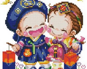 PDF file counted aida cross stitch korean baby pattern for wedding KK115