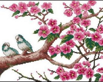 downloadable PDF file electronic pattern counted aida digital cross stitch flower pattern DMC key code Z033