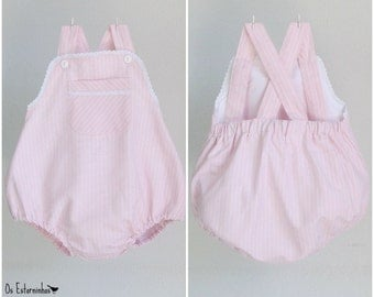 Baby Girl Bubble romper - Striped pink bubble romper with front pocket