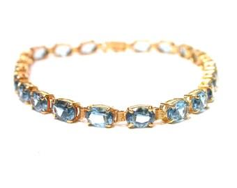 14k Yellow Gold Swiss Blue Topaz Bracelet - Tennis Bracelet - Oval Blue Topaz Stones - December Birthstone # 1306