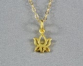 Tiny Cutout Lotus Blossom Necklace, Gold Vermeil, 14K Gold Filled Chain, Modern, Simple, Delicate, Everyday Wear Jewelry