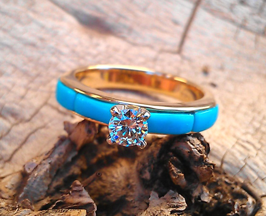 4-section Turquoise inlay Diamond Solitaire Engagement Ring