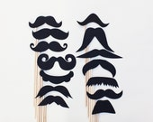 Movember Handmade Mustache on a Stick Set - Set of 14 mustaches on sticks. Photo Booth Prop Set.